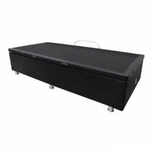 Base Box Com Bau Solteiro Preta Corino