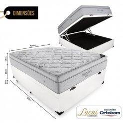 Cama Box Com Bau Casal Colchao De Molas Ensacadas Ortobom Freedom 138cm Medidas