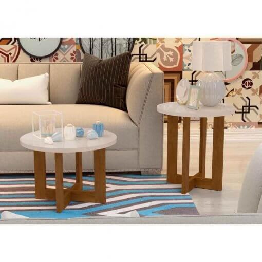 Conjunto De Mesa Decorativo Jb 8001 8002 Perola Jb Bechara ambientada