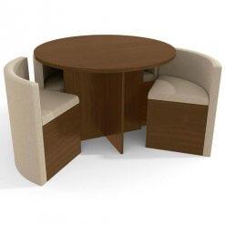 Conjunto Mesa Redonda Kappesberg Nira 4 Cadeiras Walnut Grafiato Bege