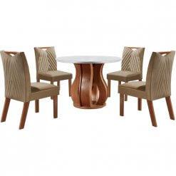 Conjunto Sala de Jantar Nuance de Jantar Com 4 Cadeiras Castanho Prêmio Tampo Chanfrado MDF