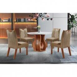 Conjunto Sala de Jantar Nuance de Jantar Com 4 Cadeiras Tampo Chanfrado MDF