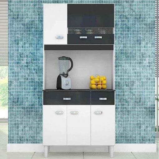 Cozinha Compacta Manu 6 Portas 2 Gavetas Poquema Branca com Preto
