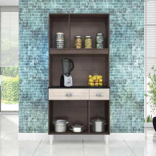 Cozinha Compacta Manu 6 Portas 2 Gavetas Poquema aberta