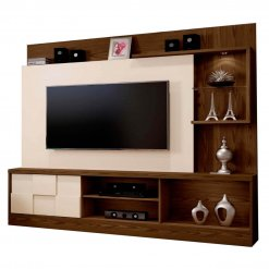 Estante Home Theater para TV ate 65 Polegadas Dinamarca Espelho Plus Mavaular Canion Off White