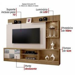 Estante Home Theater para TV ate 65 Polegadas Dinamarca Espelho Plus Mavaular Diferenciais
