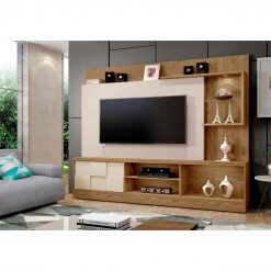 Estante Home Theater para TV ate 65 Polegadas Dinamarca Espelho Plus Mavaular damasco off white