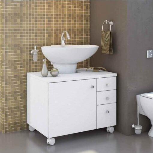 Gabinete para Banheiro 1 Porta Mimo Albatroz Moveis Branco