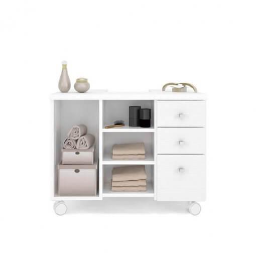 Gabinete para Banheiro 1 Porta Mimo Albatroz Moveis Branco aberto