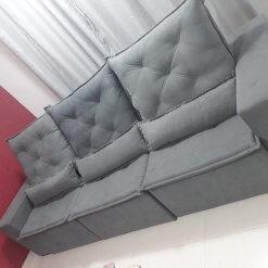 Sofa 6 Lugares Retratil e Reclinavel Castelo Tecido Suede 290cm Cinza Foto Real