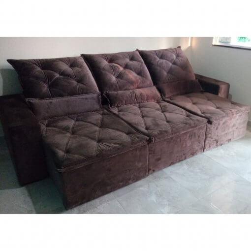 Sofa 6 Lugares Retratil e Reclinavel Castelo Tecido Suede 290cm Marrom Foto Real