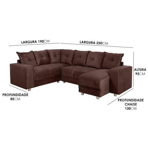 Sofa De Canto Com Chaise 6 Lugares 5070 Tecido Suede Almofadas Soltas Medidas
