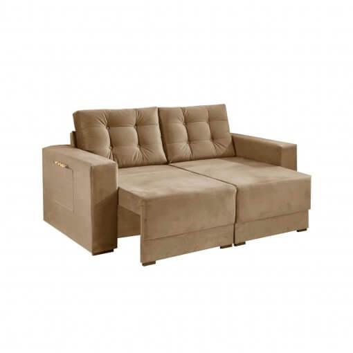 Sofa Retratil e Almofadas Soltas Napoli Tecido Suede