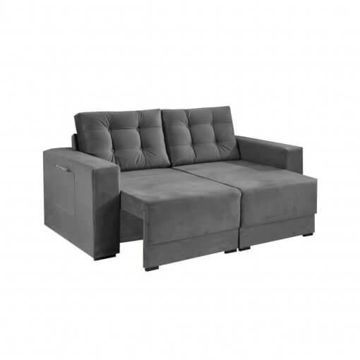 Sofa Retratil e Almofadas Soltas Napoli Tecido Suede cinza