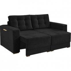 Sofa Retratil e Almofadas Soltas Napoli Tecido Suede preto