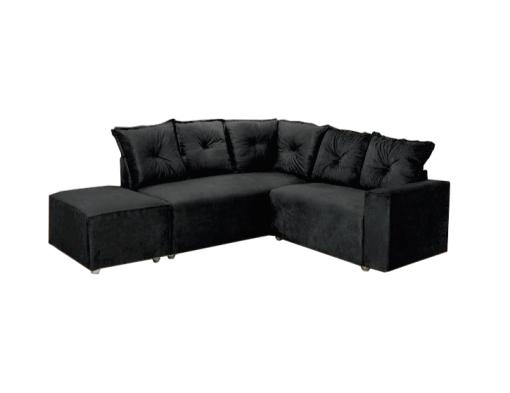 Sofa de Canto 5 Lugares 5040 Puff Grande Tecido Suede