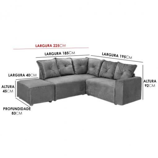 Sofa de Canto 5 Lugares 5040 Puff Grande Tecido Suede Medidas