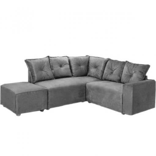 Sofa de Canto 5 Lugares 5040 Puff Grande Tecido Suede cinza