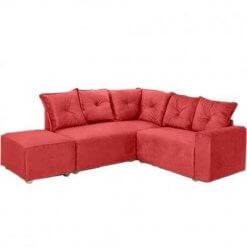Sofa de Canto 5 Lugares 5040 Puff Grande Tecido Suede vermelho
