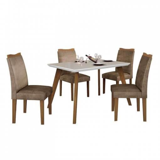 Conjunto Mesa Lavinia 4 Cadeiras Pampulha com vidro Off White Leifer Imbuia