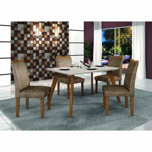Conjunto Mesa Lavinia 4 Cadeiras Pampulha com vidro Off White Leifer Imbuia Bege