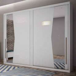 Guarda Roupa Casal com Espelho 2 Portas de Correr Geom
