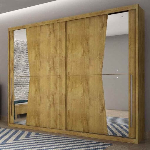 Guarda Roupa Casal com Espelho 2 Portas de Correr Geom Novo Horizonte