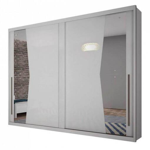 Guarda Roupa Casal com Espelho 2 Portas de Correr Geom Novo Horizonte branco