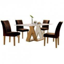 Mesa Belle com 4 cadeiras 120cm Cel Moveis