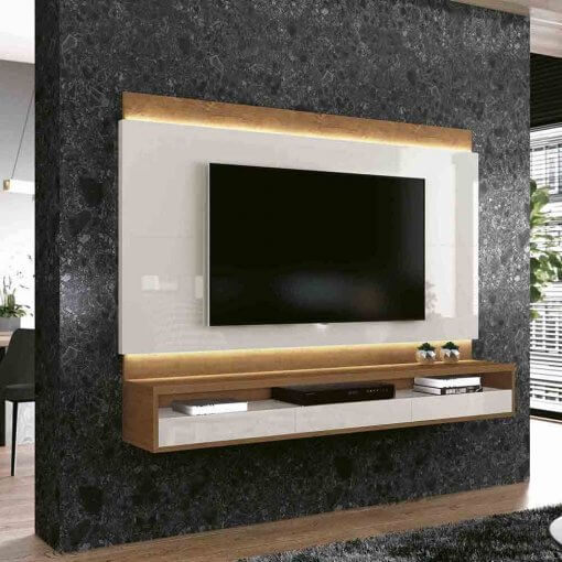 Painel para TV Savoy Off White com Naturale EDN