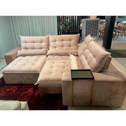 Sofa de Canto Retratil e Reclinavel com Molas Cama inBox Franca 300cm x 250cm Bege