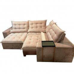 Sofa de Canto Retratil e Reclinavel com Molas Cama inBox Franca Bege 300cm x 250cm