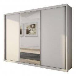 Guarda Roupa Casal Paradizzo com Espelho e 3 Portas de Correr Branco