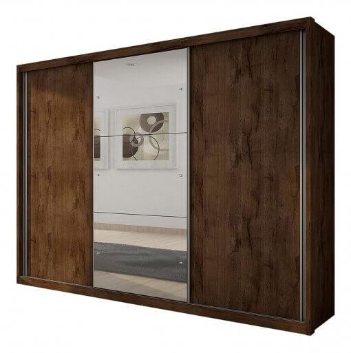Guarda Roupa Casal Paradizzo com Espelho e 3 Portas de Correr Canela
