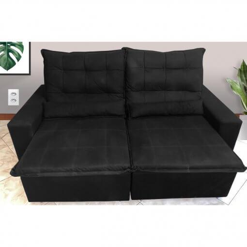 sofa retratil e reclinavel marica preto tecido suede