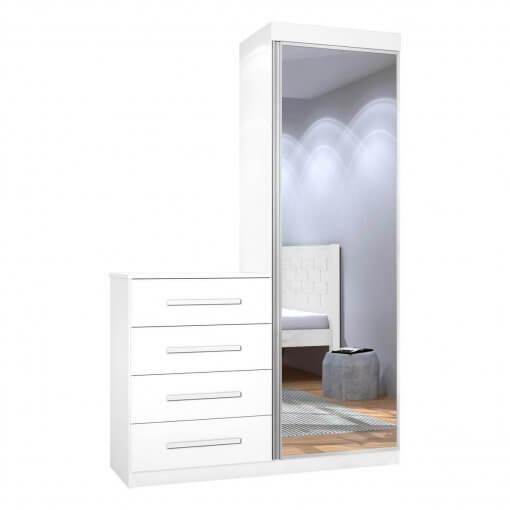 Comoda Multiuso com Espelho 1 Porta 4 Gavetas Thor JeA Moveis branca