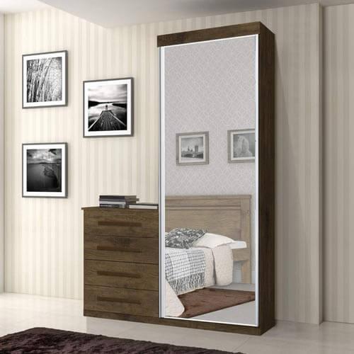 Comoda Multiuso com Espelho 1 Porta 4 Gavetas Thor JeA Moveis jequitiba