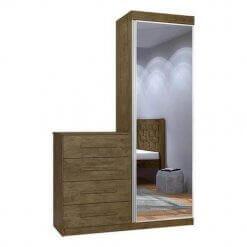 Comoda Multiuso com Espelho 1 Porta 4 Gavetas Thor Jequitiba JeA Moveis