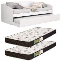 Kit Sofa cama Solteiro Funny Branca Com 2 Colchoes Solteiro D20 78x188cm
