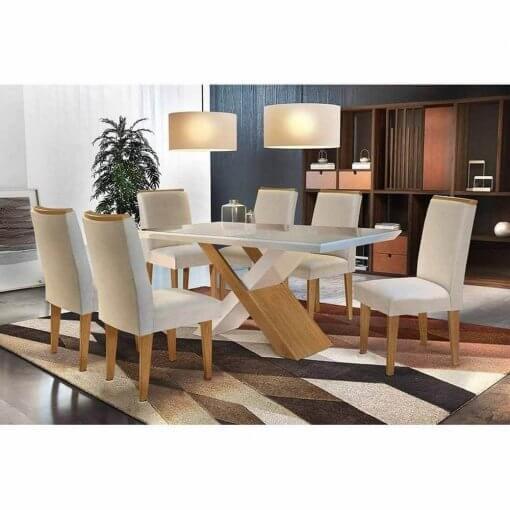 Mesa de Jantar Imperatriz 6 cadeiras Rufato