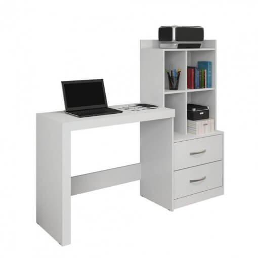 Mesa para Computador com Estante Branca 2 Gavetas Alana JCM Moveis