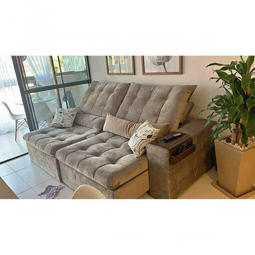 Sofa 4 Lugares Retratil e Reclinavel Amsterda Tecido Suede 250cm Foto