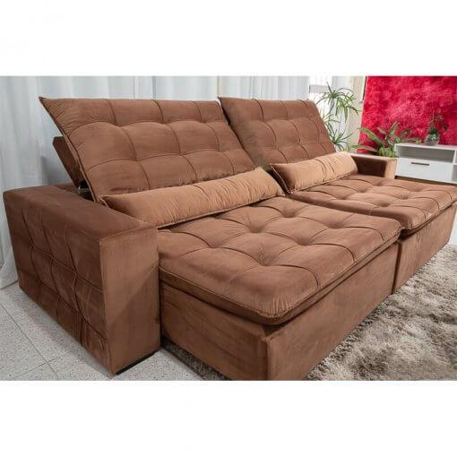 Sofa 4 Lugares Retratil e Reclinavel Amsterda Tecido Suede 250cm Foto Real