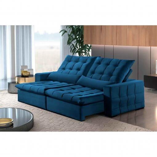 Sofa Amsterdan Retratil e Reclinavel 250cm azul
