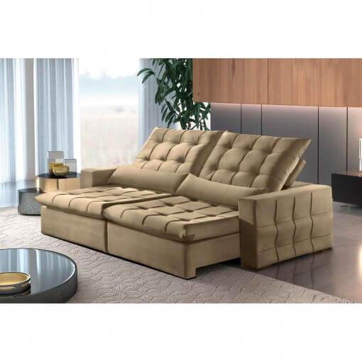 Sofa Amsterdan Retratil e Reclinavel 250cm bege