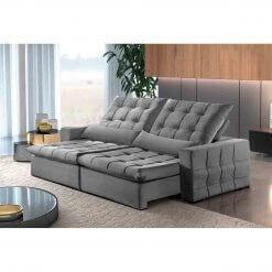 Sofa Amsterdan Retratil e Reclinavel 250cm cinza