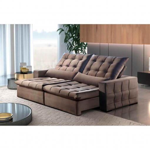 Sofa Amsterdan Retratil e Reclinavel 250cm marrom