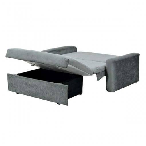 Sofa Cama Daiane com Bau e Tecido Suede