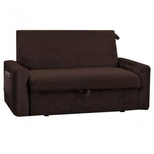 Sofa Cama com Bau Daiane Suede Marrom