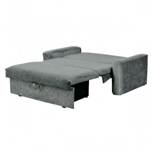 Sofa Cama com Bau Daiane Tecido Suede Cinza Aberto